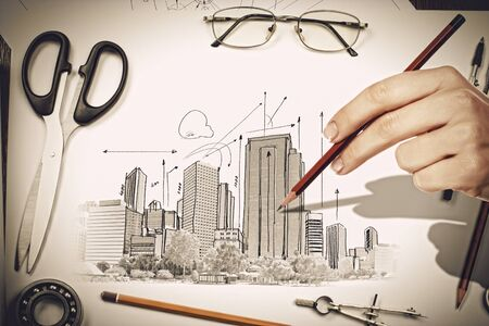 Architectural hand drawn project with set of tools Stock Photo - 21203234