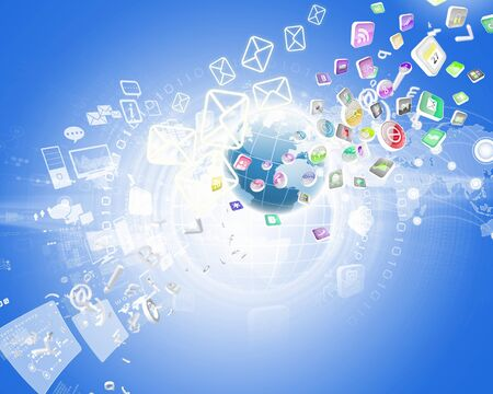 Digital background image with symbols and icons Stock Photo
