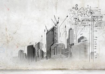 trekken: Afbeelding met de hand tekeningen van bouwproject