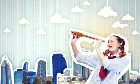 vision future: Image of young pretty woman looking in telescope Stock Photo