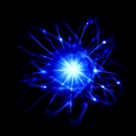 Afbeelding van kleur atomen en elektronen concept van de fysica