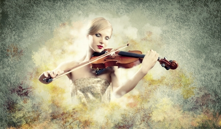 Image of beautiful female violinist playing with closed eyes against colorful background photo