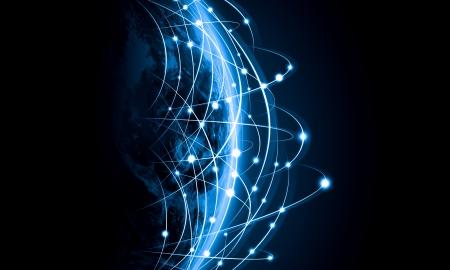 Azul con la imagen viva del concepto de globalización globo