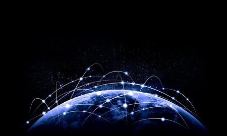 Blauw levendig beeld van globe Globalization concept Stockfoto