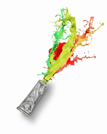 Image of paint tube with color splashes Stock Photo