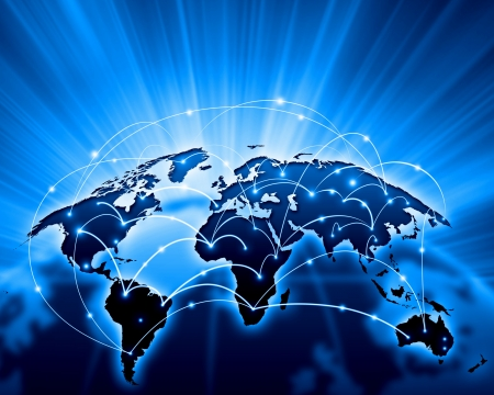 transnational: Blue vivid image of globe  Globalization concept