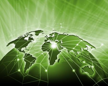Green vivid image of globe  Globalization concept Stok Fotoğraf