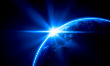 appearing: Planet Earth with appearing sunbeam light  Elements of this image are furnished by NASA Stock Photo