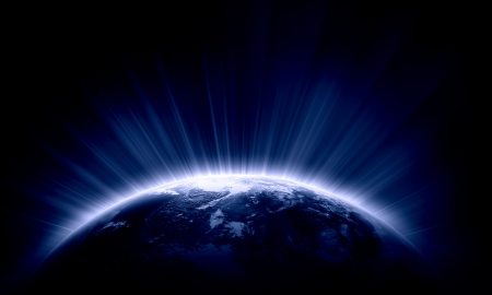 appearing: Planet Earth with appearing sunbeam light