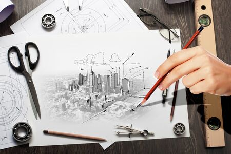 Architectural hand drawn project with set of tools Stock Photo - 21271628