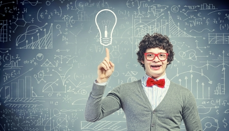 lamp power: Young man in the process of thinking and finding a solution