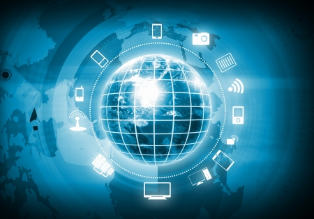 Digital image of globe with conceptual icons  Globalization concept