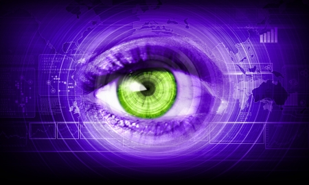Close-up high-tech image of human eye  Technology concept photo