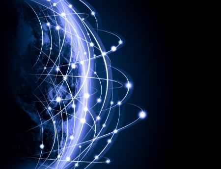 Azul con la imagen viva del concepto de globalización globo Foto de archivo - 21272363
