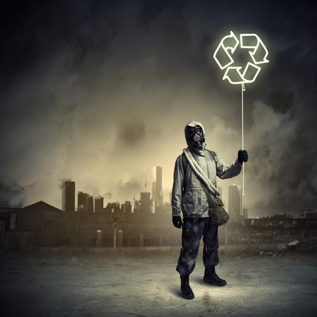 Man in respirator against nuclear background  Recycle concept Stock Photo - 21291244