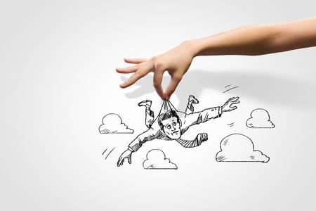 gestion: Imagen Gráfico de la mano del hombre de negocios Reto empresarial