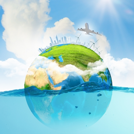 Image of earth planet floating in water  Global warming  Elements of this image are furnished by NASA photo