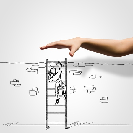 positive thought: Hand drawing image of businessman  Business challenge
