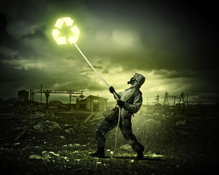 Man in respirator against nuclear background  Recycle concept Stock Photo - 21291941
