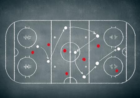 Close up image of hand drawn hockey tactic plan