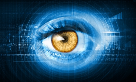 ojo humano: Primer plano de imagen de alta tecnología del concepto de tecnología ojo humano Foto de archivo