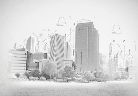 edificio: Gr�fico de la mano del concepto de construcci�n escena urbana