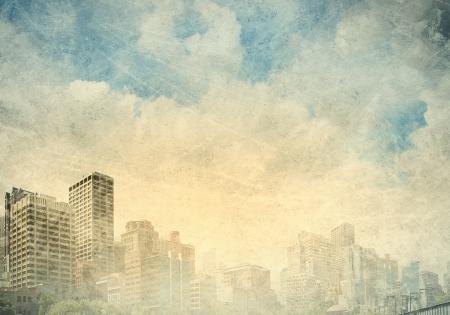 배경으로 도시 풍경과 오래 된 그림