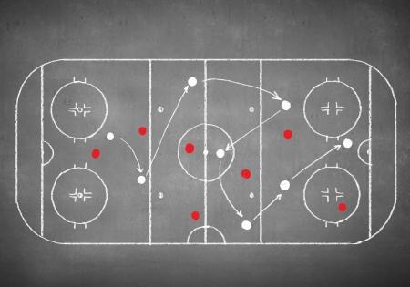Close-up beeld van hand getrokken hockey tactiek plannen