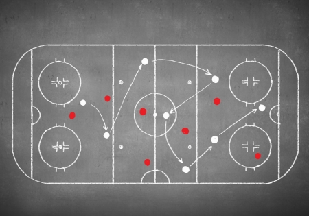 lines game: Close up image of hand drawn hockey tactic plan
