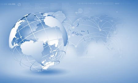 Blue digital image of globe  Background image
