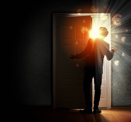 Image of young businessman standing with back opening door against euro sigh background photo