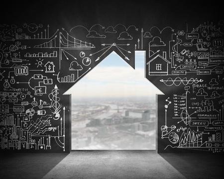 door way: Business plan sketch on black wall  Construction concept Stock Photo