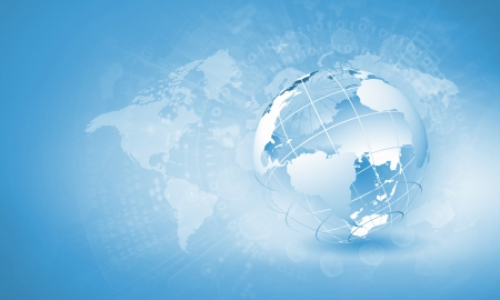 international internet: Blue digital image of globe  Background image