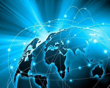 kommunikation: Blau lebendiges Bild der Welt Globalisierung Konzept Lizenzfreie Bilder