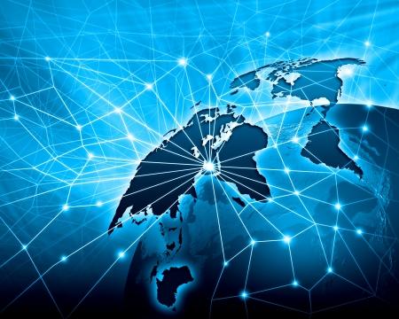 сеть: Голубой яркий образ земного шара глобализации концепции