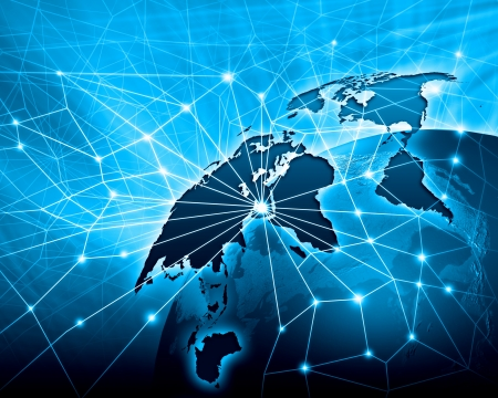 Imagem vívida azul do conceito de globalização do globo Foto de archivo - 21331847
