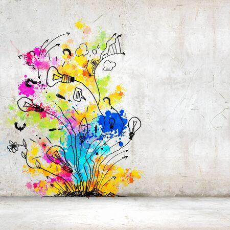 arte moderno: Imagen de fondo con salpicaduras de colores y gotas Foto de archivo