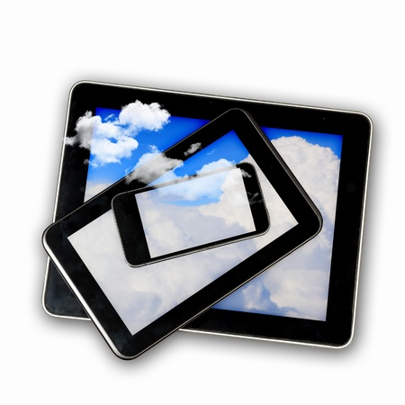 Set of three computer devices with clouds illustration illustration