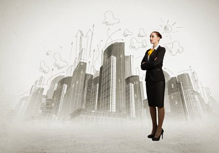 Image of business woman in suit  Construction concept Stock Photo - 21324827