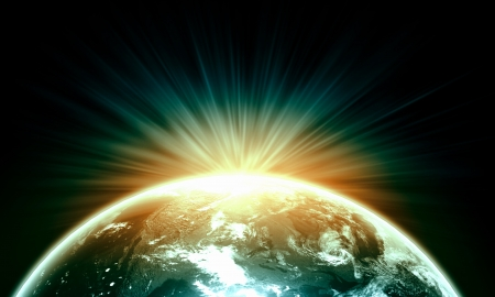 world ball: Planet Earth with appearing sunbeam light  Elements of this image are furnished by NASA Stock Photo