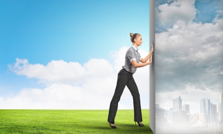Image of attractive business woman changing reality Imagens - 21331946