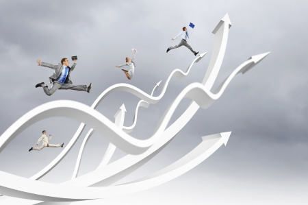 team success: Young businesspeople jumping on white arrows  Growth concept