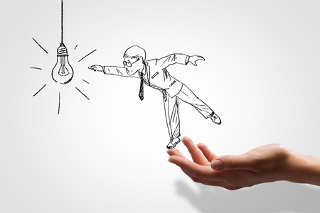 caricatura: Imagen Gr�fico de la mano del hombre de negocios Reto empresarial