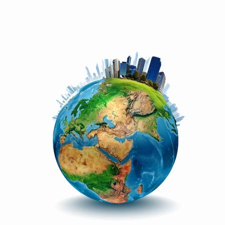 Image Planète terre avec les bâtiments sur une surface Banque d'images - 21341954
