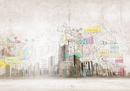 urban colors: Imagen de fondo con edificios y escenas urbanas Foto de archivo