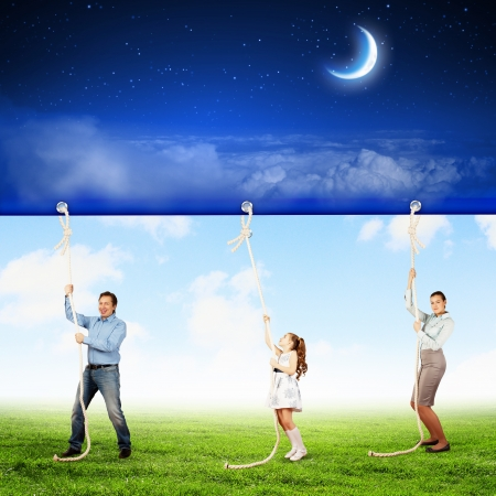 napping: Image of young happy family pulling banner with night illustration