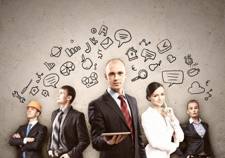 work together: Afbeelding van jonge ondernemers team Collage achtergrond