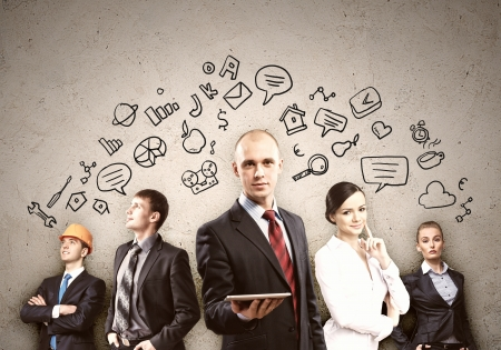 man at work: Image of young businesspeople team  Collage background Stock Photo