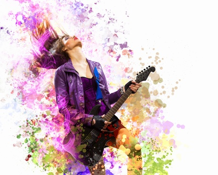 rock star: Young attractive rock girl playing the electric guitar Stock Photo