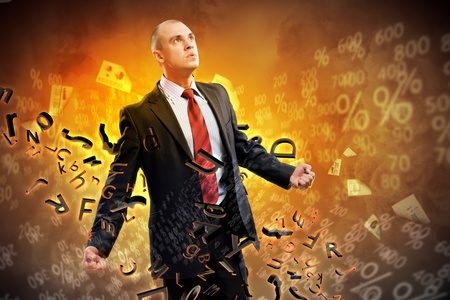 amok: Image of young businessman in anger burning in fire Stock Photo